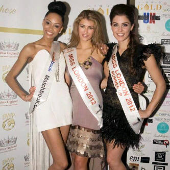 Syria also came 3rd in the Miss London 2012 pageant (first from left)