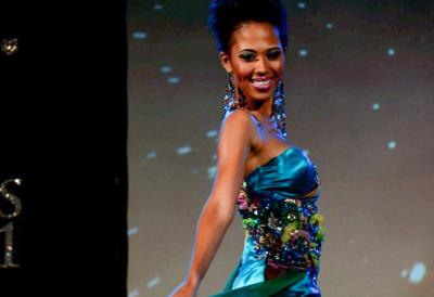 Taisha on the crowning night of Miss Barbados World 2011