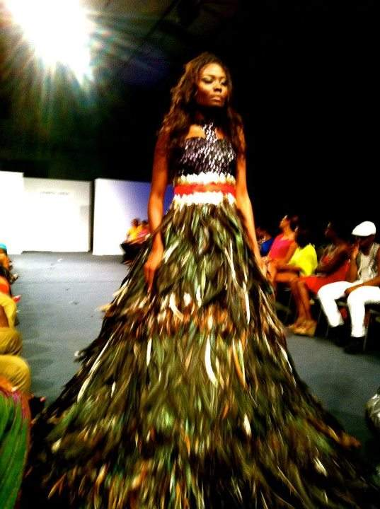 Kenneth Barlis' feather bottom dress (photo credit: Club Fashion TV)