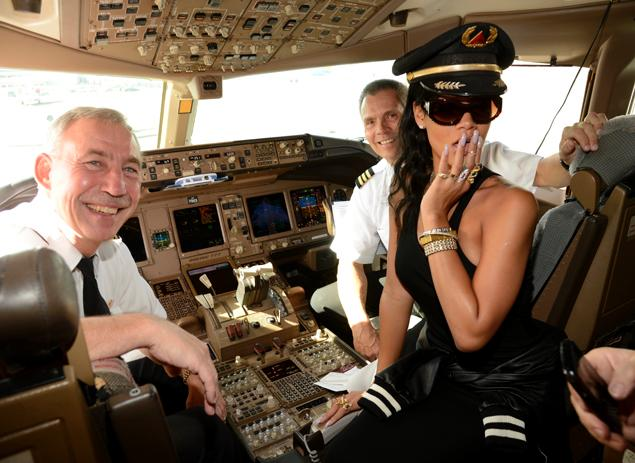 In the cockpit with her pilots, aboard the Boeing 777