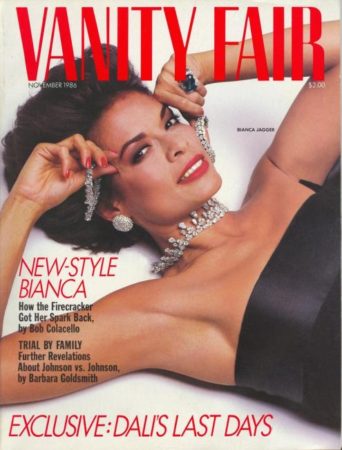 Bianca on the cover of Vanity Fair, November 1986