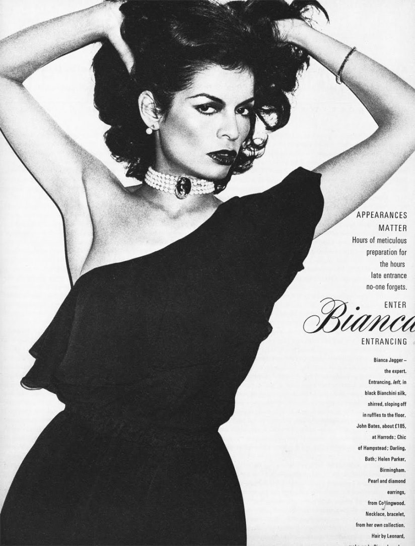Bianca in British Vogue, December 1974