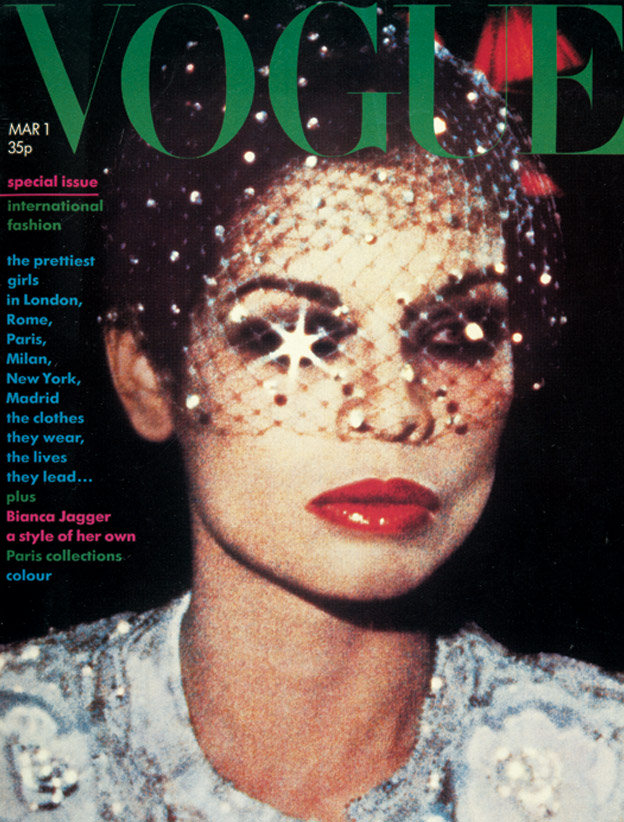 Bianca on the cover of Vogue, March 1974